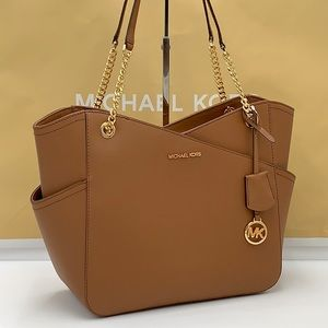 Michael Kors Large X Chain Shoulder Tote Luggage